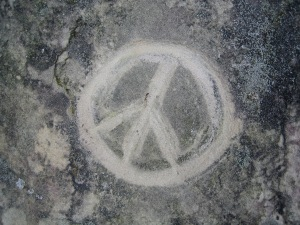 peace sign in rock