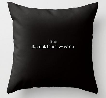 it's not b:w square pillow copy