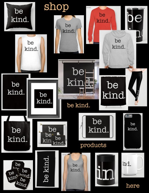 be kind collage with color font copy