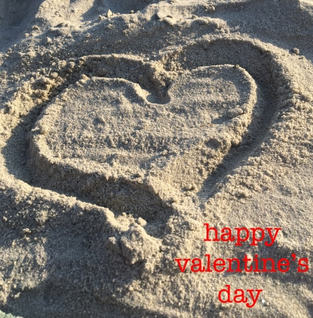 heart in sand happy valentine's day