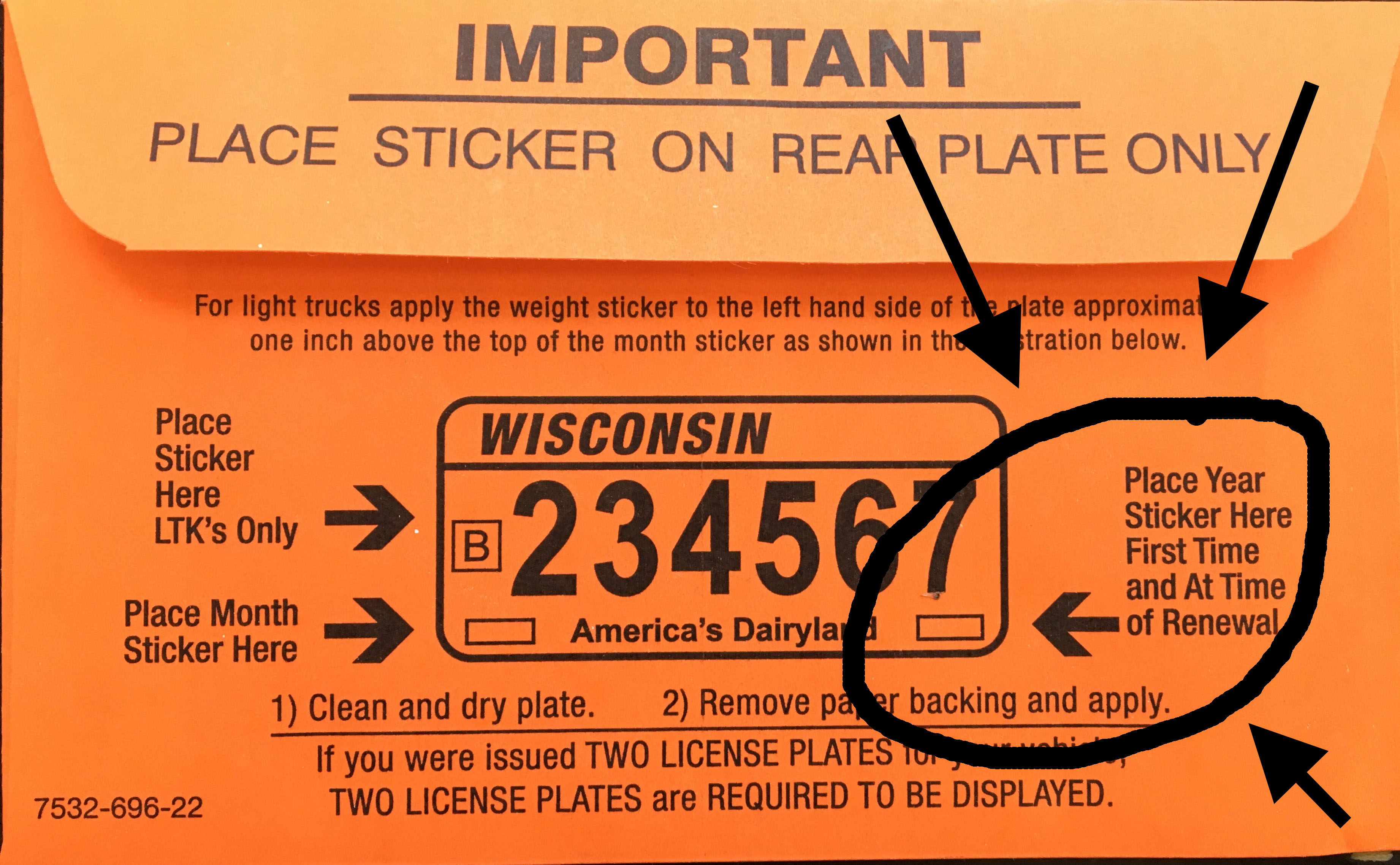 marked license plate stickers